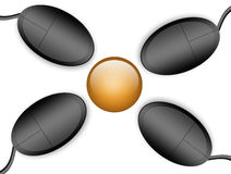 Mouse. Yellow circle  with four mouses  around. isolated illustration Royalty Free Stock Photos