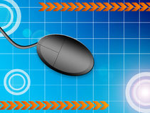Mouse. Black computer mouse over blue background. isolated and mesh illustration Royalty Free Stock Images
