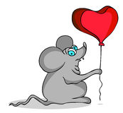 Mouse. With heart shape balloon Stock Photo