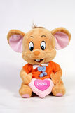 MOUSE. Doll and heart on white stock photos