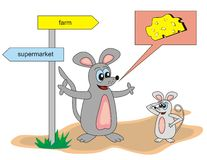 Mouse. Large and small mouse is at the crossroads Stock Photography