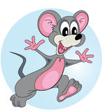 Mouse. Gray mouse running and smiling on blue background Stock Image