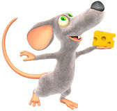 Mouse. With small piece of Cheese (Picture with isolation on a white background Stock Image