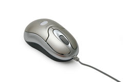Mouse. Grey silver portable mouse for laptop computers Royalty Free Stock Photo
