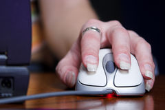 Mouse. Hand on mouse stock images