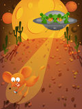 Mouse and aliens. Vector illustration of a mouse meet the aliens in the desert Royalty Free Stock Photo