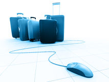 Mouse And Luggages Royalty Free Stock Images
