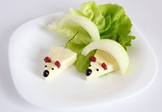 Mouse appetizer. With onion and lettuce Stock Image