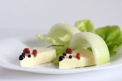 Mouse appetizer. With onion and lettuce Royalty Free Stock Photography