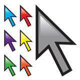 Mouse Arrow Cursors. A collection of mouse arrow cursors isolated over white with multiple color options Stock Image