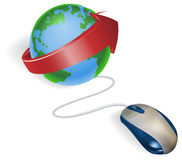 Mouse and arrow globe Royalty Free Stock Images