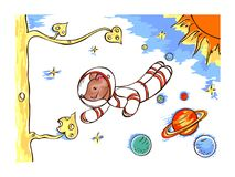 The mouse is astronaut, flying in outer space Royalty Free Stock Photo