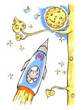 The mouse is astronaut, flying in the rocket Royalty Free Stock Image