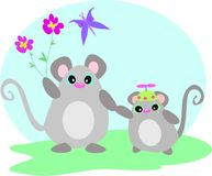 Mouse and Baby with Flower and Butterfly Stock Photos