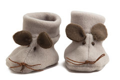 Mouse baby shoes Stock Photo