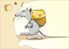 Mouse with a bag of cheese. Symbol of wealth and a successful financing. Vector illustration Royalty Free Stock Photo