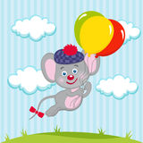 Mouse in balloons. Little mouse flys on three colorful balloons Royalty Free Stock Photos