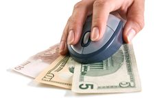 Mouse on banknotes Stock Images