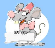 Mouse banner. Cute little mouse proudly presents Stock Image
