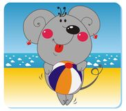Mouse on the beach. Vector illustration of mouse with the ball on the beach Royalty Free Stock Photography