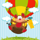 Mouse and a bird in a balloon. Vector illustration Stock Image