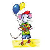 Mouse birthday flowers Royalty Free Stock Images