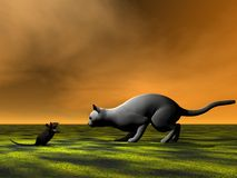 Mouse black and cat grey Stock Image