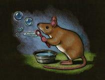 Mouse Blowing Bubbles: Color Pencil. Color pencil drawing of a mouse blowing bubbles Royalty Free Stock Images
