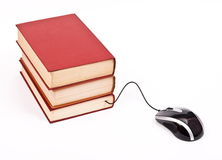 Mouse with books. On white royalty free stock image