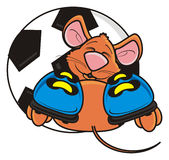 Mouse in boots lying beside soccer ball Stock Photos