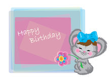 Mouse with a bow and a flower on birthday Stock Photo