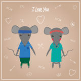 Mouse boy and girl. Vector illustration Stock Photos