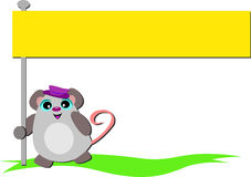 Mouse with Bright Yellow Banner Royalty Free Stock Photos
