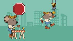 Mouse builder with construction signs character animation. Illustration design stock footage