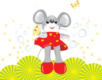 Mouse and butterflies Stock Image
