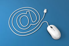 Mouse cable in the form of email sign. 3d illustration - Mouse cable in the form of email sign Stock Image
