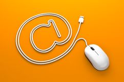Mouse cable in the form of email sign Stock Photos