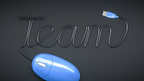 Mouse with cable text Team. A blue computer mouse and the word Team formed by the cable Stock Photos