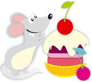 Mouse cake cakes cherry color colors pink yellow sweet Royalty Free Stock Image