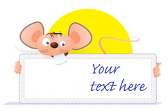 Mouse card. Birthday card with mouse, caricature Stock Photo
