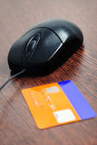Mouse and card payment Royalty Free Stock Images