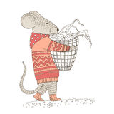 Mouse carries a basket with grains Stock Images