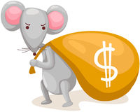 mouse carry bag with money Stock Images