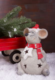 Mouse carrying a Christmas tree Royalty Free Stock Photos