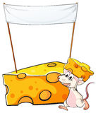 A mouse carrying a slice of cheese below the empty banner Stock Photography