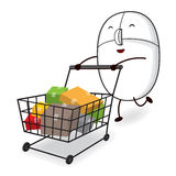 Mouse with Cart Vector Royalty Free Stock Image