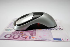 Mouse with cash euro Stock Photos