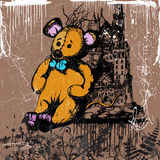 Mouse and castle. Jpeg and vector toy picture, stitches mouse in front of dark castle Royalty Free Stock Image