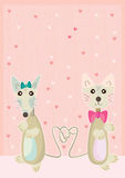 Mouse Cat Friend Love Card_eps Royalty Free Stock Images
