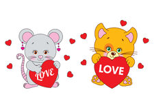 Mouse and cat holding a heart Vector characters Royalty Free Stock Images